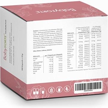BabyFORTE FolsäurePlus Vitamine • 180 Kapseln • 400/800 mcg Folsäure sowie Eisen & Jod• Für Kinderwunsch, Schwangerschaft & Stillzeit • Vegan • Vitamine Schwangerschaft - 2