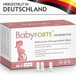 BabyFORTE FolsäurePlus Vitamine • 60 Kapseln • 400/800 mcg Folsäure • Für Kinderwunsch, Schwangerschaft & Stillzeit • Folsäure, Eisen, Jod • Vegan - 1
