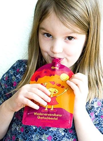 divata MINI Quetschies 100ml (4er Pack), BPA-frei - wiederverwendbare Quetschbeutel zum selbst befüllen mit u.a. Yoghurt, Smoothies, Babybrei. Kleine Größe - ideal für Babys & Kleinere Kinder (4er Set) - 3