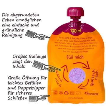 divata MINI Quetschies 100ml (4er Pack), BPA-frei - wiederverwendbare Quetschbeutel zum selbst befüllen mit u.a. Yoghurt, Smoothies, Babybrei. Kleine Größe - ideal für Babys & Kleinere Kinder (4er Set) - 4