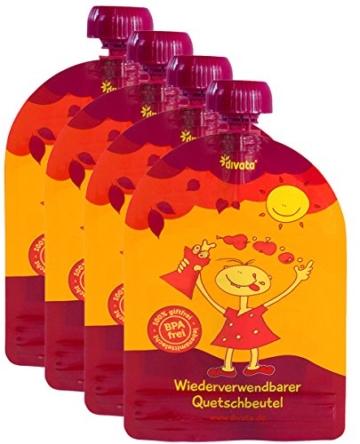divata MINI Quetschies 100ml (4er Pack), BPA-frei - wiederverwendbare Quetschbeutel zum selbst befüllen mit u.a. Yoghurt, Smoothies, Babybrei. Kleine Größe - ideal für Babys & Kleinere Kinder (4er Set) - 1