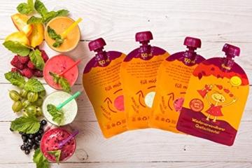 divata MINI Quetschies 100ml (4er Pack), BPA-frei - wiederverwendbare Quetschbeutel zum selbst befüllen mit u.a. Yoghurt, Smoothies, Babybrei. Kleine Größe - ideal für Babys & Kleinere Kinder (4er Set) - 6