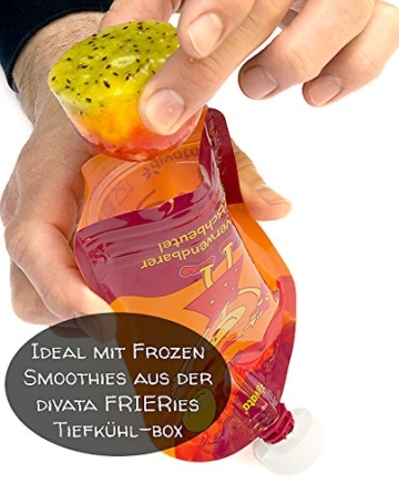 divata MINI Quetschies 100ml (4er Pack), BPA-frei - wiederverwendbare Quetschbeutel zum selbst befüllen mit u.a. Yoghurt, Smoothies, Babybrei. Kleine Größe - ideal für Babys & Kleinere Kinder (4er Set) - 7