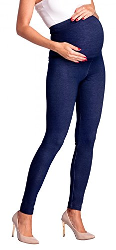 Zeta Ville -Umstandsmode Leggings Hose elastische Bund Denim-Look - Damen - 948c (Marine Jeans, EU 34/36, M) - 2