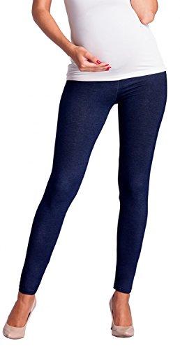 Zeta Ville -Umstandsmode Leggings Hose elastische Bund Denim-Look - Damen - 948c (Marine Jeans, EU 34/36, M) - 3