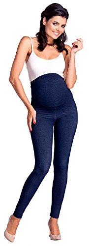 Zeta Ville -Umstandsmode Leggings Hose elastische Bund Denim-Look - Damen - 948c (Marine Jeans, EU 34/36, M) - 4